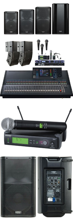 Some of our sound equipment rentals in Chicago, IL